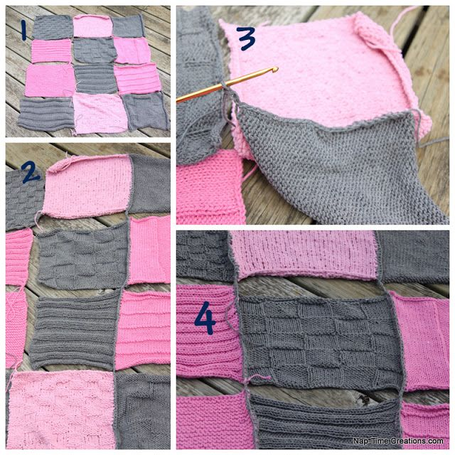 Blanket Stitch Knitted Squares Together : Knit Squares Crocheted Together {Tutorial} Baby Blanket