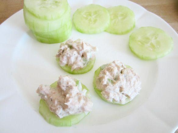 tuna, chicken, or deviled salad on cucumbers ~Brilliant!~