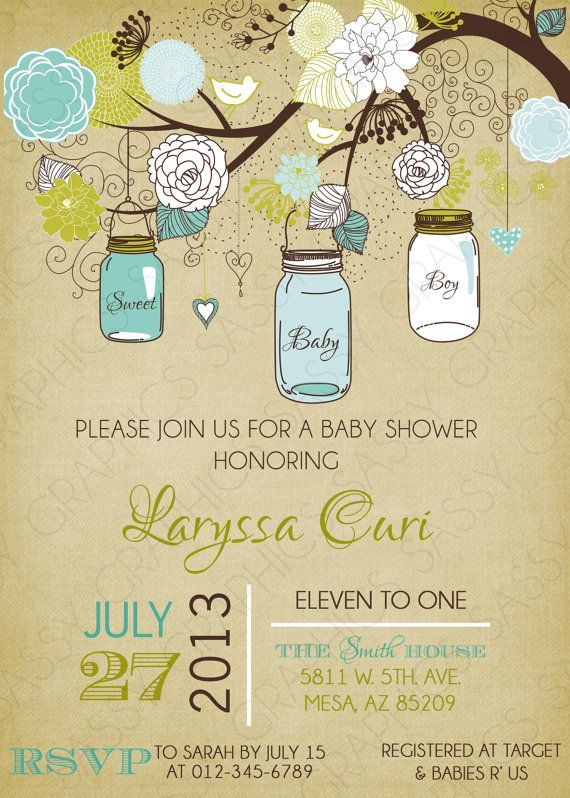 boy baby shower invitation mason jar teal green tan printable