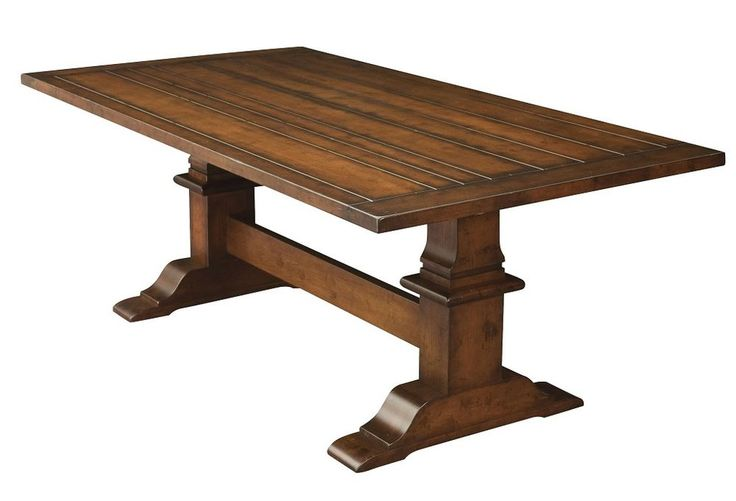 Amish Rustic Trestle Dining Table Plank Farmhouse Cabin Wood Furniture
