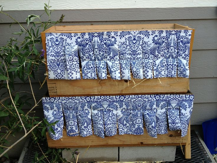 Nesting Box Curtains to give the girls some privacy. It also helps ...