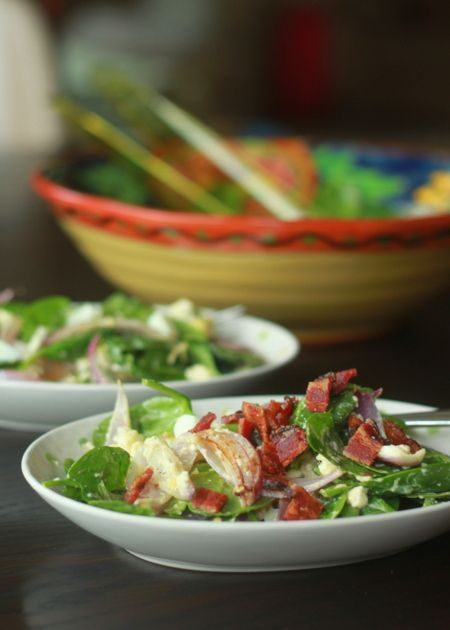 Wilted Spinach and Feta Salad with Optional Bacon | Recipe