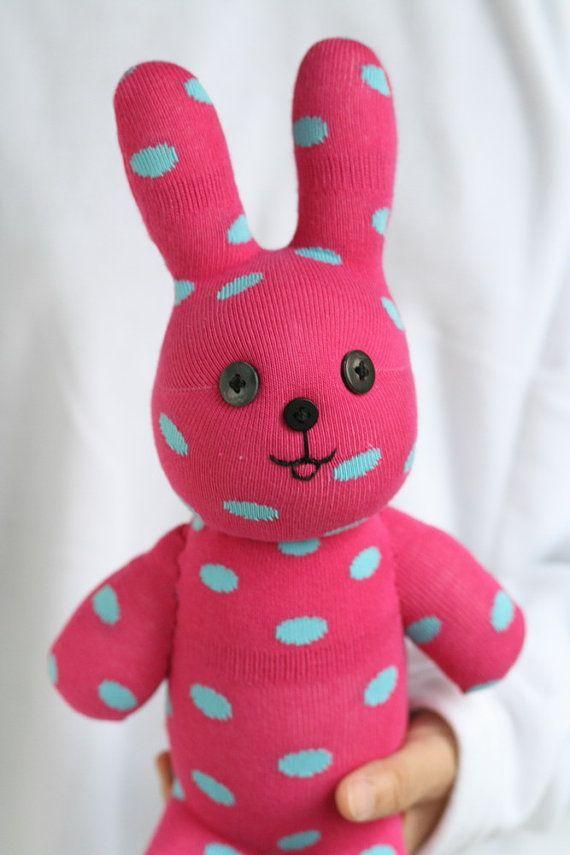 T18 Handmade Pink Polka Dot Easter Bunny stuffed animal toys little g ...