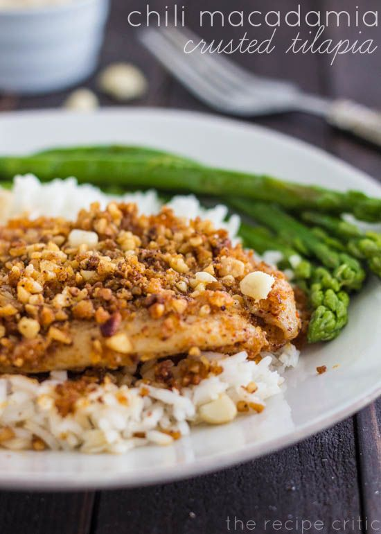 ... AMAZING crusted tilapia with perfect chili spices and macadamia nuts