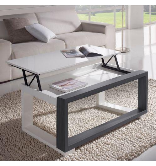 Table Basse Relevable Extensible 10 Personnes ~ Table Basse Relevable Plateau Blanc ET Cadre Gris Concept  EBay
