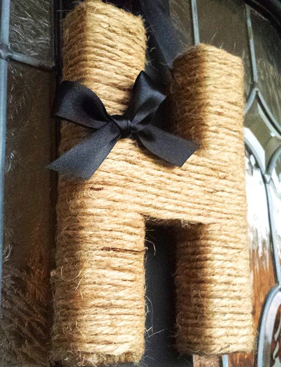 JUTE MONOGRAM WREATH With Satin Ribbon Pick A by PomPomFairytale, $19.99