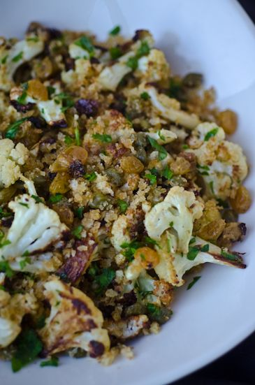 ... tina jeffers: Crispy cauliflower with capers raisins and breadcrumbs