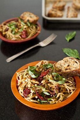 pesto makes this Lightened-Up Sundried Tomato Basil Pesto Pasta ...