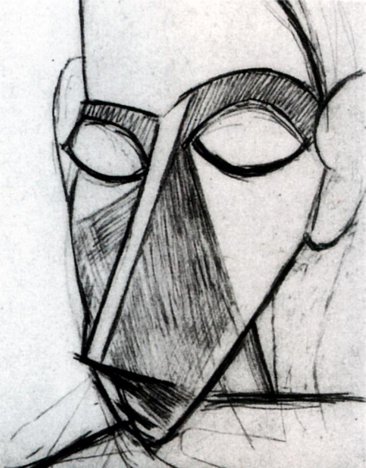1907 Picasso Tête de Femme, Head of Woman Crayon sur papier 14,7x10,6 cm. #Cubismo #Art #XXs @deFharo