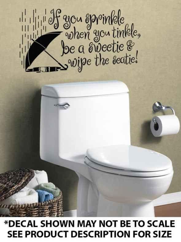 Pin funny bathroom sayings rulesbathroom wall quotes words for Bathroom sayings for walls