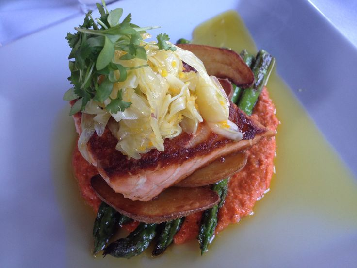 King Salmon with roasted fingerlings, asparagus, citrus-fennel slaw ...