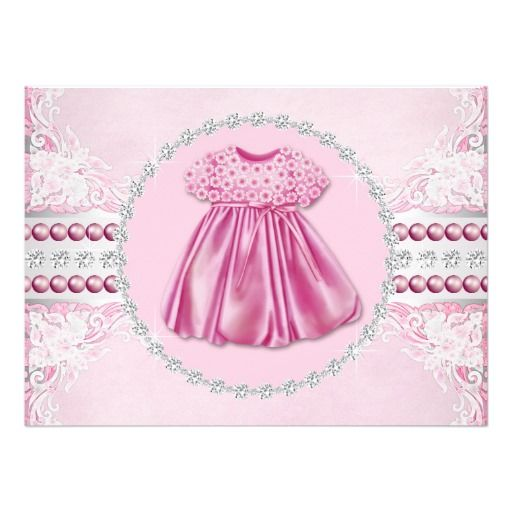 pretty pink diamonds and pearls baby shower announcements