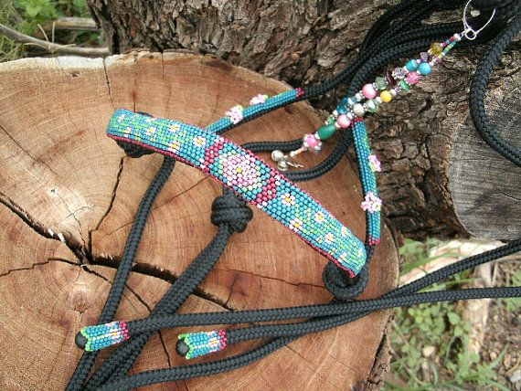 Beaded Horse Halter Horse Tack Rope Halter by HorsetailsBeadwork, $165.00