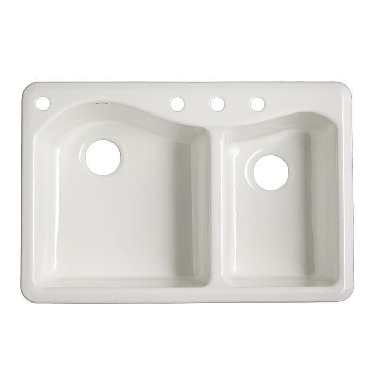 Kohler Lawnfield Sink : KOHLER Lawnfield Double-Basin Drop-in Enameled Cast Iron Kitchen Sink ...