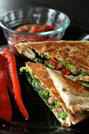 Avocado, pinto bean and red bell pepper quesadilla! by tabatha