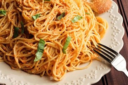 Roasted Red Pepper Pesto Pasta with Goat Cheese | Tasty Kitchen: A ...