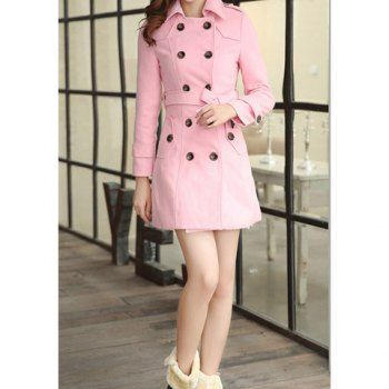 Modern style double breasted long sleeves worsted women s coat pink