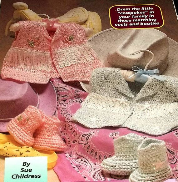 Crochet Pattern Baby Vest Sweater Lil Cowboy Cowgirl Roses ...