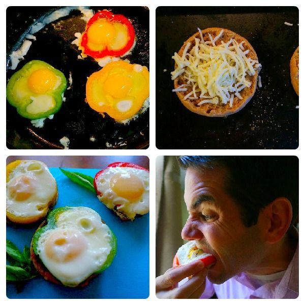 """... Flower"""" Breakfast Sandwiches. All you need are bell peppers, eggs"""