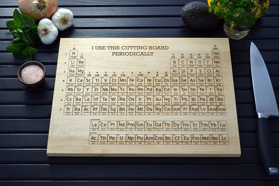 Hood scientist holiday chemistry cheer - Periodic table chopping board ...