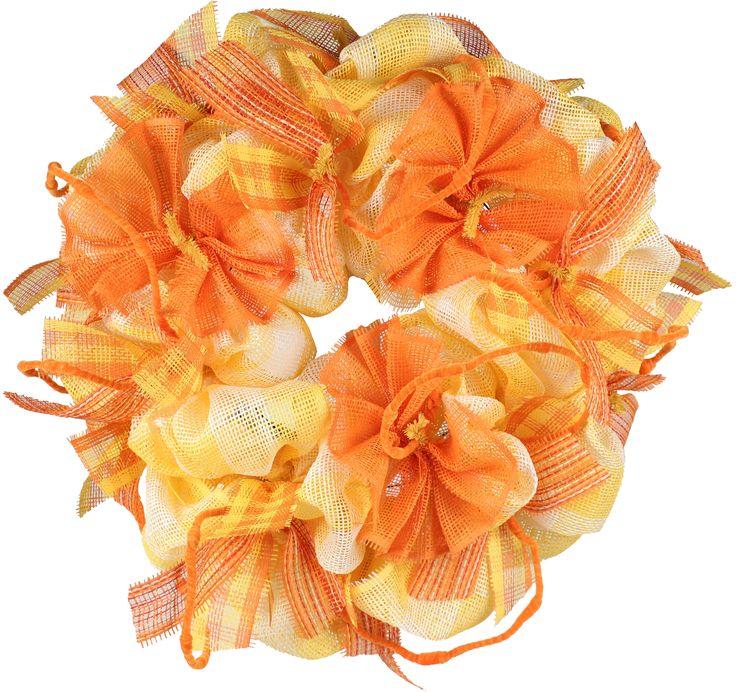 Summer paper mesh wreath orange yellow multi color work wreath