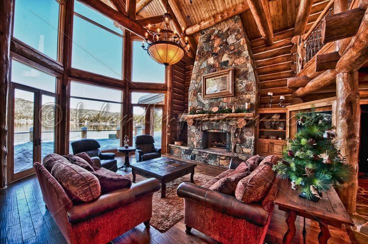 Log cabin living room decor for our new home pinterest for Log home living room ideas