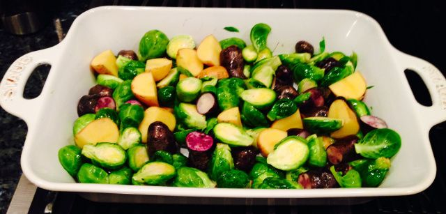 Brussels sprouts and purple potatoes roasted with duck fat