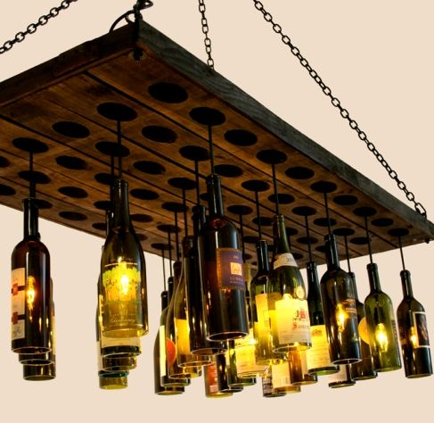 Wine bottle chandelier.... LOVE