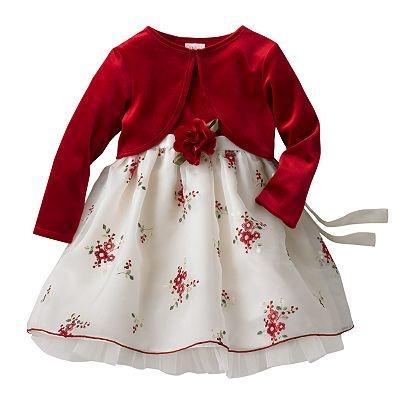 Christmas dress youngland floral dress and cardigan set toddler 33