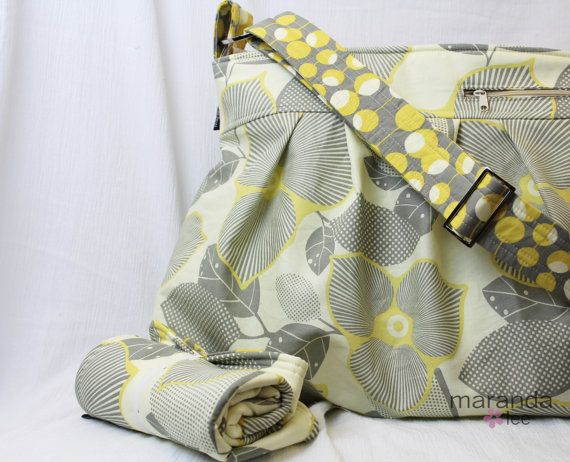 Deluxe Emma Large Diaper Bag Set - Optic Blossom Grey Yellow -
