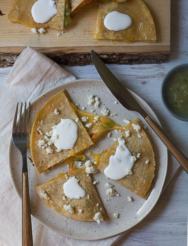 Zucchini Blossom Quesadilla with Roasted Tomatillo Salsa | A Cozy ...