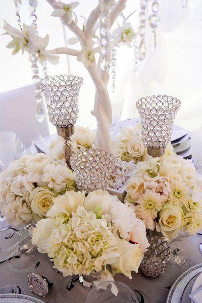 White flower and crystal centerpiece wedding reception