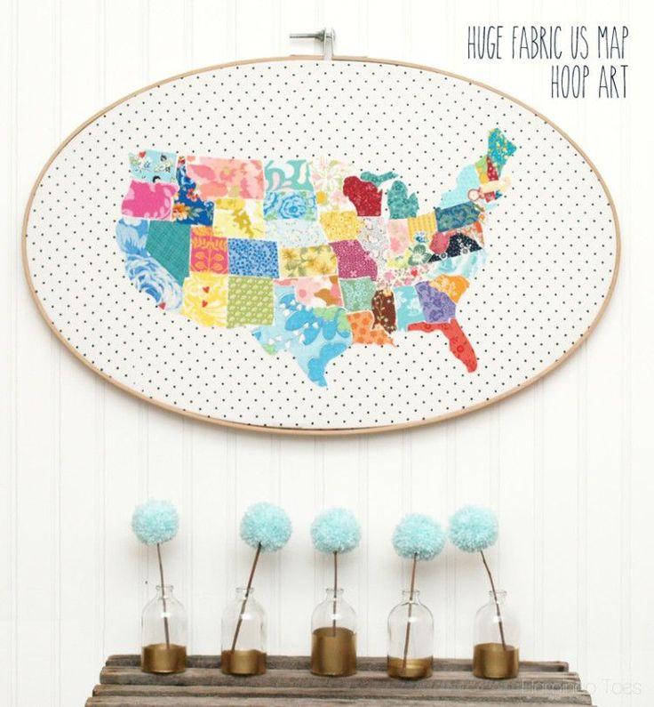 Huge Fabric US Map Hoop Art. Cutest thing I've ever laid my eyes on.