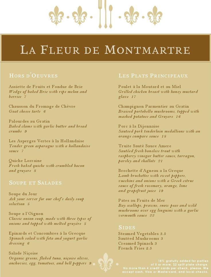 French Menu Template Fleur de Lis French Menu