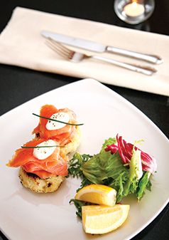 Smoked Salmon, Potato Cakes, Horseradish Crème Fraiche (grams)