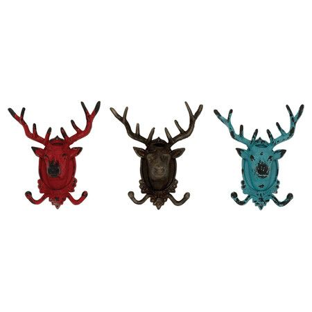 Hang coats and hats in the entryway or towels in your master bath with this metal wall hook, showcasing a distressed stag head design.