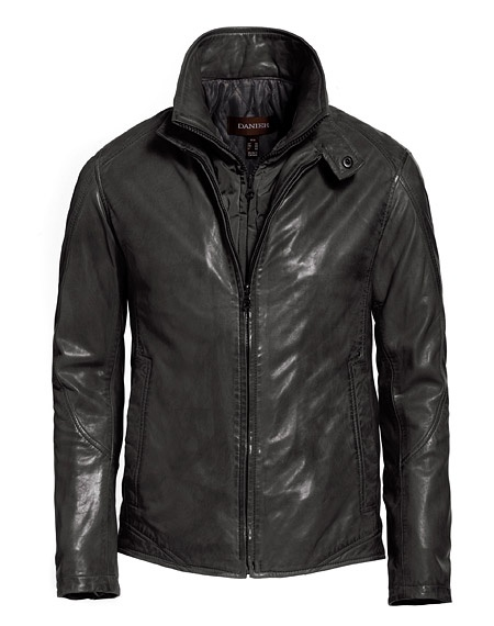 Dark, charcoal grey, leather bomber jacket with Thinsulate lining