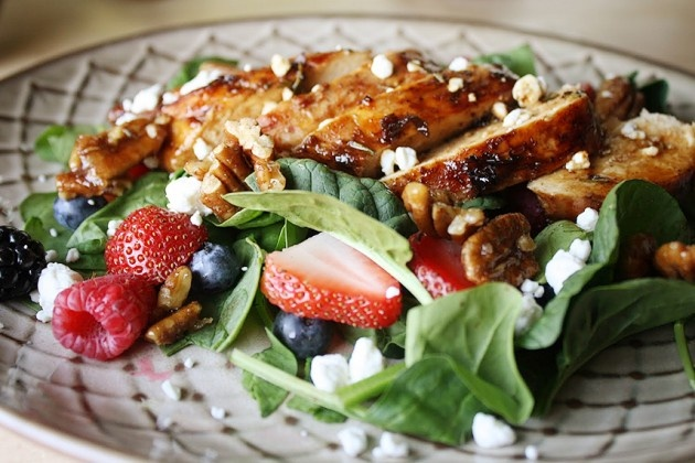 Pomegranate Glazed Chicken w/ Spinach & Mixed Berries
