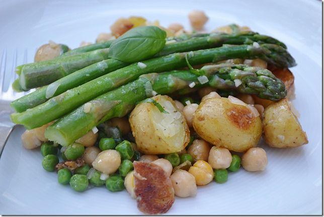 New Potato, Asparagus + Chickpea Salad with Lemon Basil Vinaigrette ...