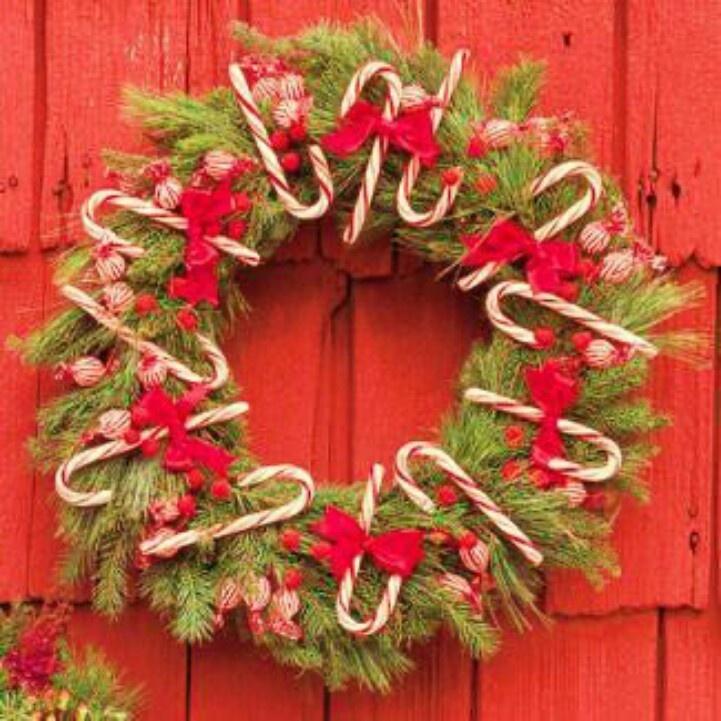 Candy cane Christmas wreath | Wreaths | Pinterest