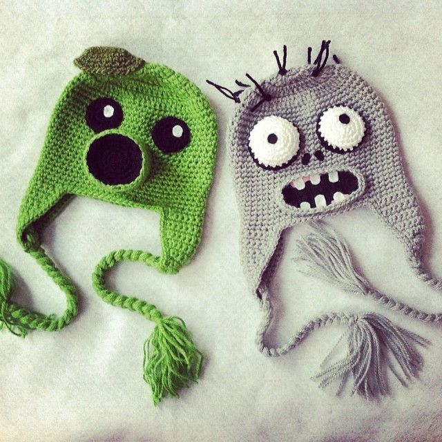 Plants vs zombies crochet hats Pinterest