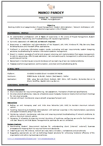 Resume Format For Hardware And Networking – Network Engineer Resume Template