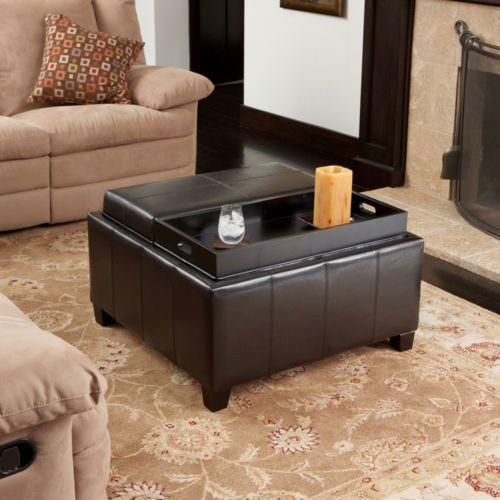 Tray Top Espresso Brown Leather Storage Ottoman Coffee Table EBay