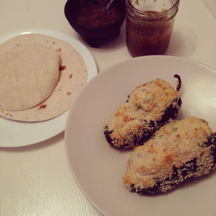 ... cheese-stuffed chili relleno | tortillas & homemade peach salsa from a
