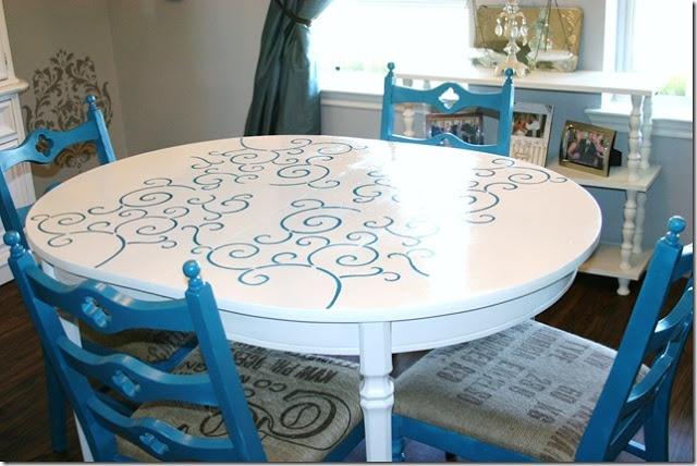 Skinny meg for the home pinterest for Stenciled dining room table