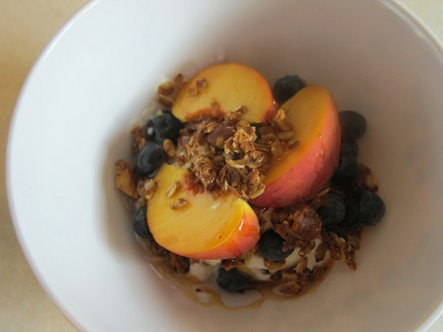 greek yogurt with fresh blueberries and peaches, topped with homemade ...