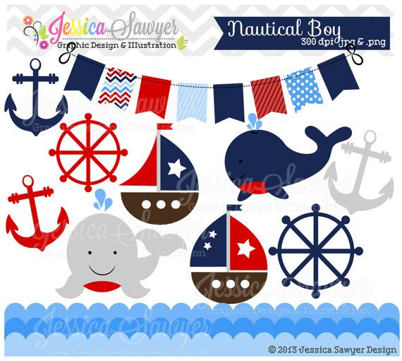 INSTANT DOWNLOAD Baby Boy Sailing Clip Art Whale Clipart