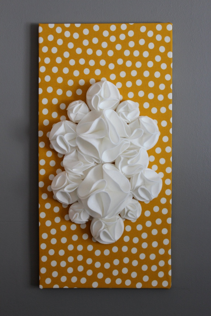 Mustard yellow nursery : Art,yellow and white polka dots, 12x24
