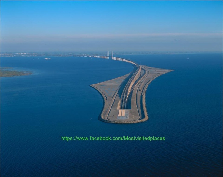 Oresund Bridge-Tunnel connects Copenhagen (Denmark) and Malmö (Sweden)