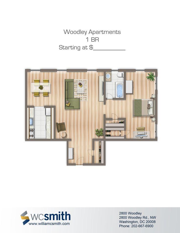 one bedroom floor plan 2800 woodley in northwest washington dc
